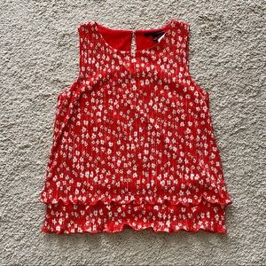 Banana Republic Red Sleeveless Floral Blouse